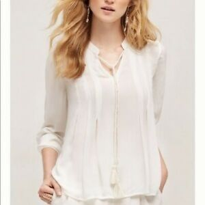 Anthropologie Floreat White Mada Tassel Blouse 6